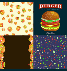 Set of burger grilled beef and fresh vegetables vector