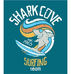 Shark cove surfing team vector
