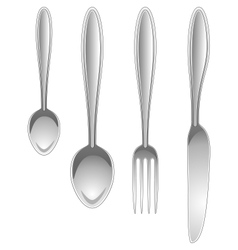 Silver kitchen table utensils isolated on white vector