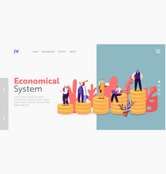 Society structure landing page template tiny vector