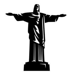 statue christ redeemer vector image