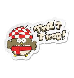Sticker of a cartoon cute owl singing twit twoo vector