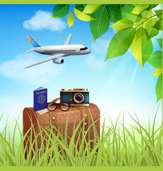 Summer holidays realistic colored concept vector