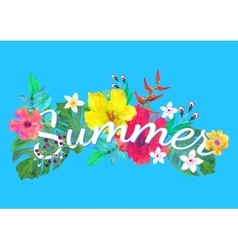 Summer lettering on abstract hand painted tropical vector