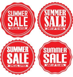 Summer sale red label set vector