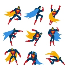 Superman Poses Set vector