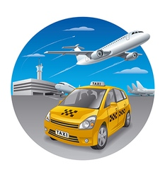 taxi car in airport vector image