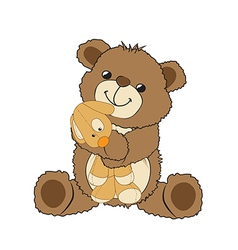 Teddy bear playing with his toy a little dog vector
