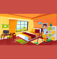 Teen boy cleaning room vector