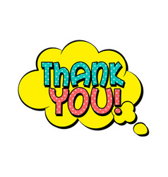 thank you speech bubble in retro style vector image