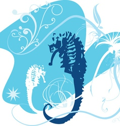 Two seahorses vector
