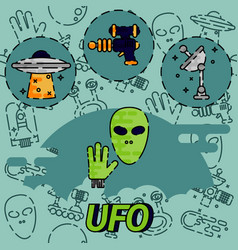 ufo flat concept icon vector image