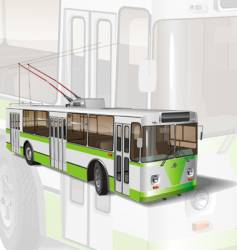 Urban trolleybus vector