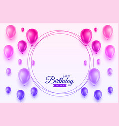 Vibrant happy birthday balloons card design vector