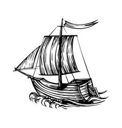 vintage sailboat ship with sails and sea on a vector image