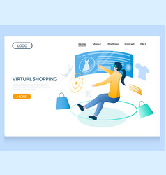 virtual shopping website landing page vector image