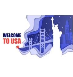 welcome to usa poster paper cut vector image