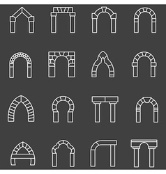 White flat line icons for archway vector image