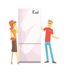 Woman choosing fridge with shop assistant help vector