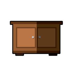 Wooden side table furniture design vector