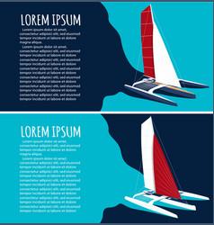 Yacht club flyers design with sport trimaran vector