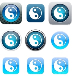 Ying yang blue app icons vector