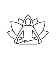 Yoga position linear icon vector