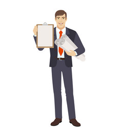 businessman holding the project plans and vector image vector image