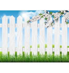 wooden fence spring tree grass vector image vector image