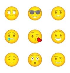 Emoticon icons set cartoon style vector image