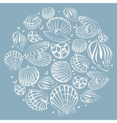 Seashell round design element vector image vector image