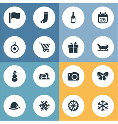Set of simple new year icons vector