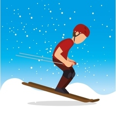 skiing man snowflake extreme sports vector image