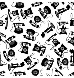Vintage rotary dial telephones pattern vector image