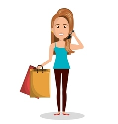 woman cartoon holding bag gift isolated vector image