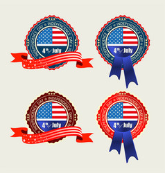 Badge with usa flag and blue and red ribbons vector