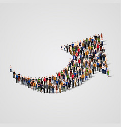 large group of people in the arrow shape vector image vector image
