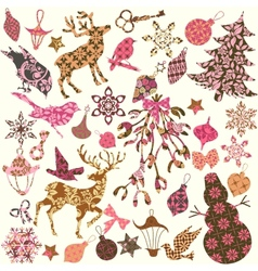 Set of Christmas silhouettes of patches for scrap vector image vector image