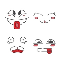 Set of line emoticons vector image
