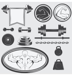 Set of vintage gym equipment and design elements vector image