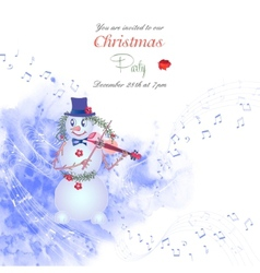 Christmas invitation with snowman vector image vector image