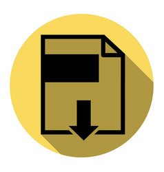 file download sign flat black icon with vector image vector image