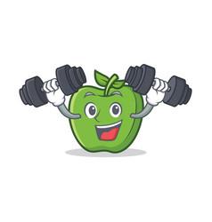 fitness green apple character cartoon vector image