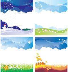 four season backgrounds set vector image vector image