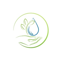 Hand leaf and water drop concept vector image