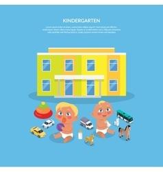 Kindergarten Design Flat Banner vector image vector image