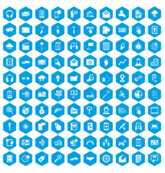 100 mobile icons set blue vector