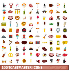 100 toastmaster icons set flat style vector