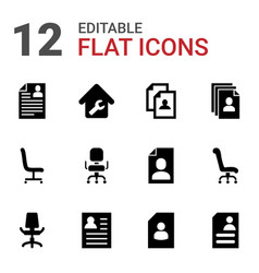 12 employment icons vector