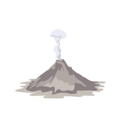 Active volcano erupting and emitting smoke cloud vector